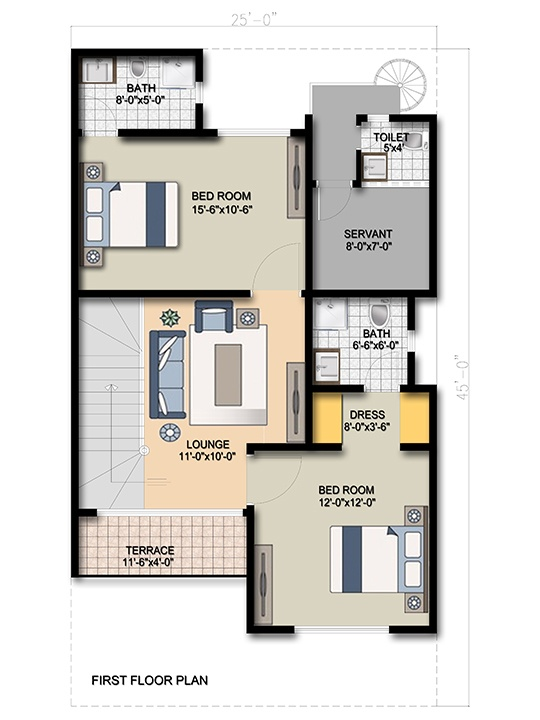 Villa 125 sq yd first floor One Unit